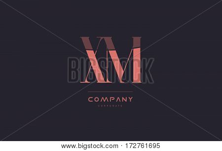 Xm X M Pink Vintage Retro Letter Company Logo Icon Design
