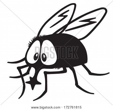 cartoon fly insect black and white vector