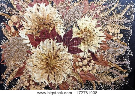 Autumn stylized floral grunge pattern on beige, sepia, brown and golden