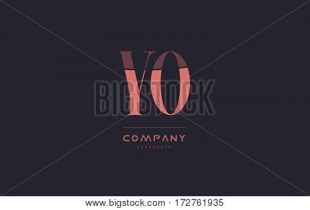 Yo Y O Pink Vintage Retro Letter Company Logo Icon Design
