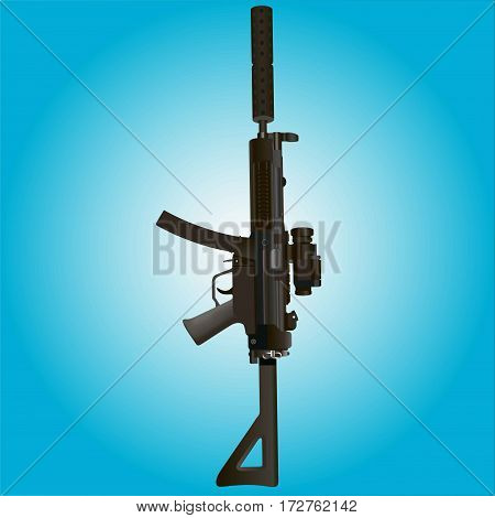 Military rifle on a blue background. Vector illustration