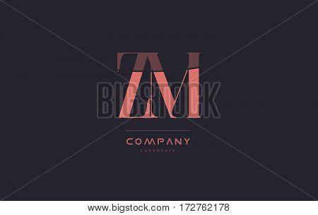 Zm Z M Pink Vintage Retro Letter Company Logo Icon Design
