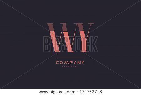 Wy W Y Pink Vintage Retro Letter Company Logo Icon Design