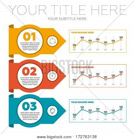 Infographics elements. 3 steps and line chart vector illustration