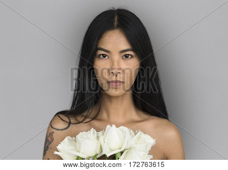 Woman Pierced Nose Ring Bare Chest Arts Flower Bouquet