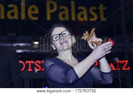 Ildiko Enyedi poses with the Golden Bear for Best Film 'On Body and Soul' after the closing ceremony of the 67th  Film Festival Berlin at Berlinale Palace on February 18, 2017 in Berlin, Germany.