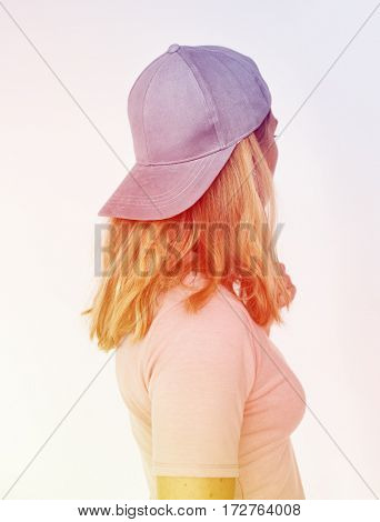 Woman Wear Cap Portrait Studio
