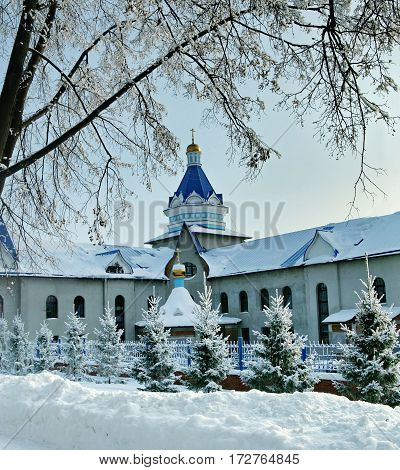 Snow-covered Spruce In Front Of An Orthodox Monastery