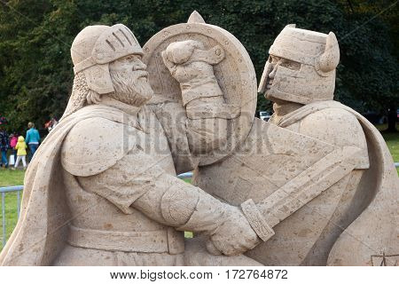 KALININGRAD, RUSSIA - SEPTEMBER 27, 2014: Sculptures of sand in the open air during the open celebration of the Day of Tourism in Kaliningrad.The city until 1945 was called Konigsberg.
