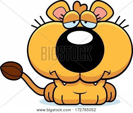 Cartoon Sad Lioness Cub