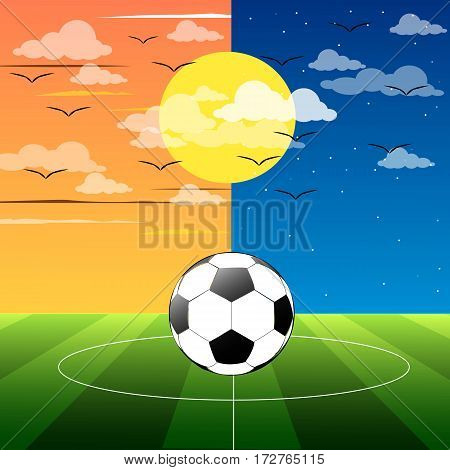 football field day and night vector illustration