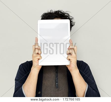 Asian Man Holding Tablet Advertisement
