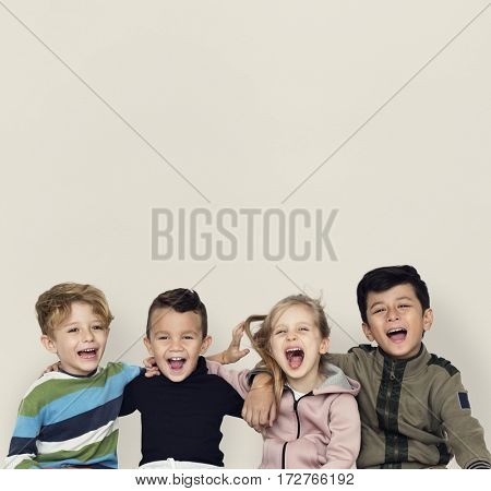 Little Children Happy Cheerful Together