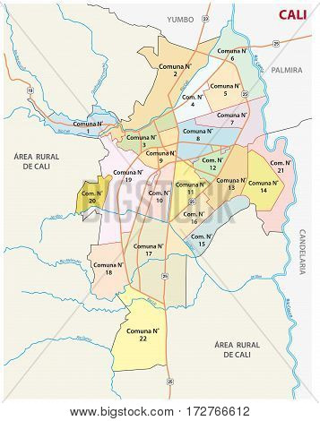 Administrative, political and road map of the Colombian city of Cali