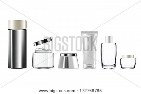 Mock up Realistic vector container for cosmetic products. Clear space for branding. Clean bottle isolate on white background.