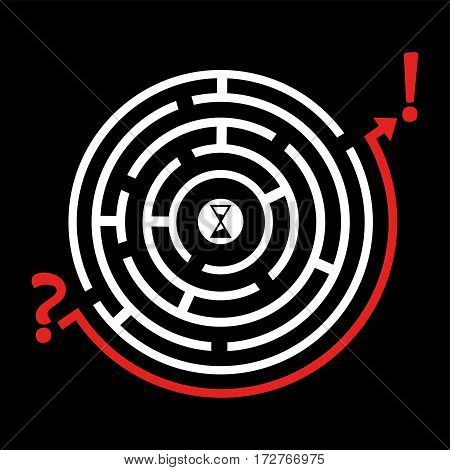 Labyrinth vector illustration. Find easy way. Creative vector