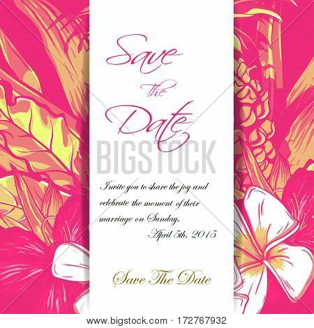 Wedding invitation or card design with exotic tropical flowers and leaves. vector.