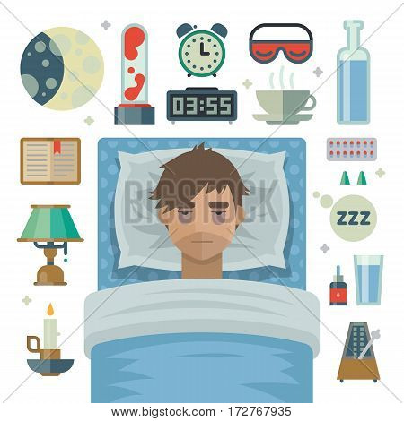 Young man with sleep problem. Man try to sleep on pillow in his bed under the blanket. Exhausting insomnia, no dreams. Collection of items, alarm, lamp, book, water, medicine, tea. Vector illustration