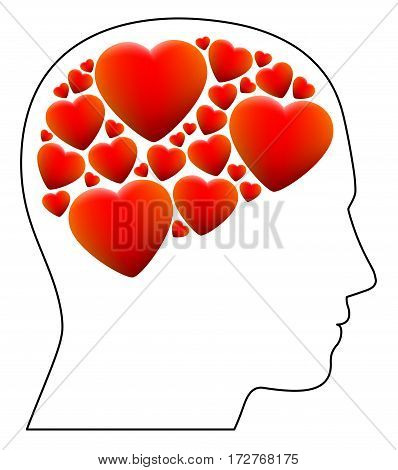 Fallen in love - symbolized by a head full with hearts instead of brain - illustration on white background.