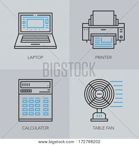 Unique detailed thin line icons for business. Office technics and electronic devices logo. Laptop, printer, calculator and table fan. Vector illustration element.
