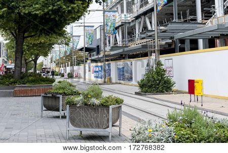 Christchurch New Zealand - February 2016: Buildings under reconstruction on Cashell Street near Restart Mall