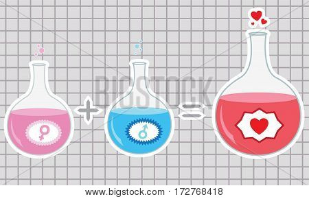 Chemistry of Love. Vector illustration. Happy Valentine's day