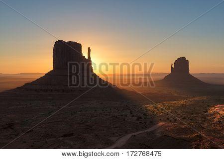 Beautiful Sunrise at Monuments, Arizona, United States.
