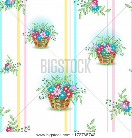 Cute wicker basket with colored flowers and leaves on a white, background.Seamless pattern for spring and summer.Floral vector illustration.Suitable for country design for site, cards, Wallpaper, paper.