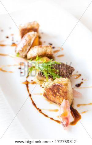 Fried Foie gras grilled, gourmet French cuisine.