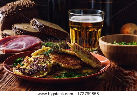 Potato Pancakes with Beer and Some Snacks