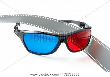 3D glasses and movie film strip on a white background