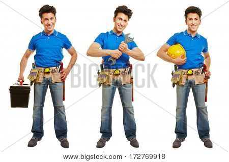 Three versions of craftsman or artisan in front view isolated on white background