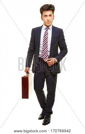 Business man in suit with briefcase as full body shot isolated on white background
