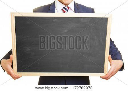 Hands of a manager holding an empty blackboard