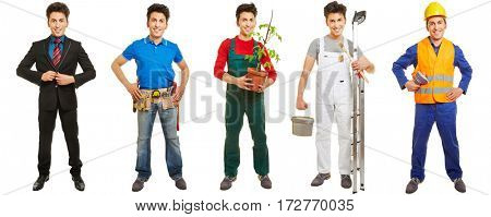 Same man in different jobs and professions standing isolated on white
