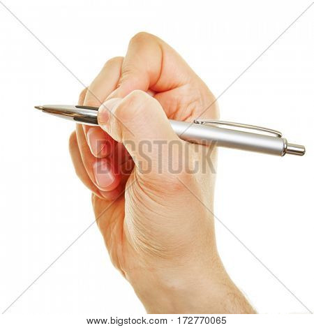 Side view of hand holding a ballpoint pen betweeen the fingers