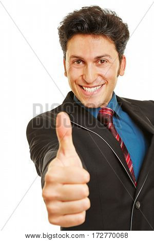 Happy businessman smiling and holding thumbs up