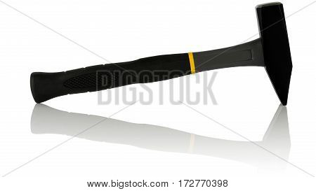 steel hammer with fiberglass handle on white background