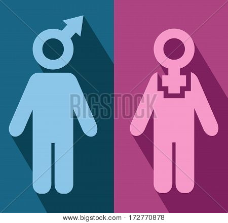 Man and woman flat icons. Exclusive symbols