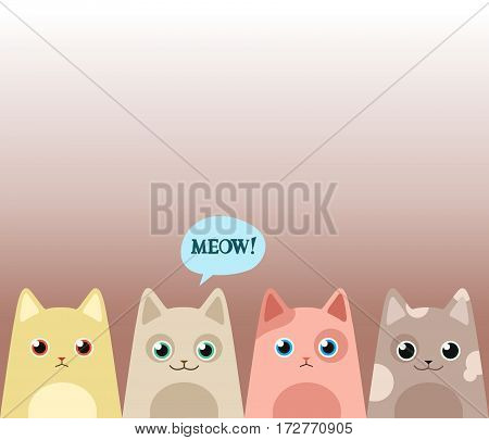 Cats. Vector illustration. Cartoon card. Saying meow!