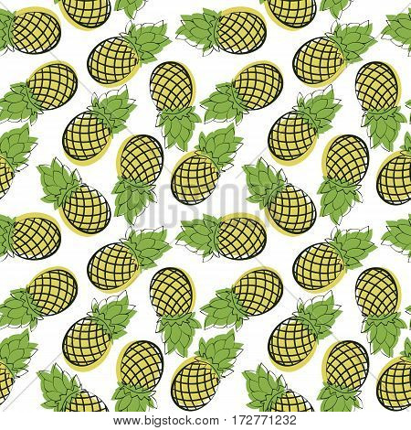 Seamless pattern of cartoon pineapple. Drawn fruit on a white background. Eco texture for packaging or for fabric.