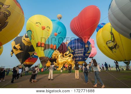 Chiang Rai, Thailand - February 14 2017: Singha Park Chiang Rai Balloon Fiesta 2017. This festival is ASEAN's biggest balloon festival, the event is part of Thailand's 2017 Valentine's celebrations.