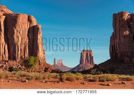 Western landscape, Monument Valley at sunrise, Arizona.