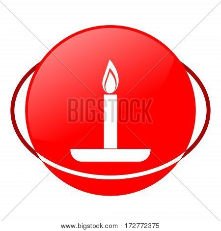 Red icon, birthday candle vector illustration on white background