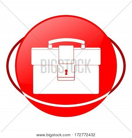Red icon, briefcase vector illustration on white background