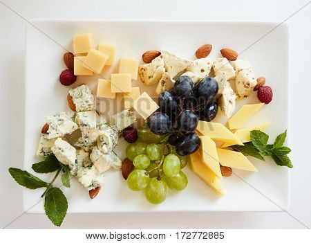 cheese variation on white table. Top view