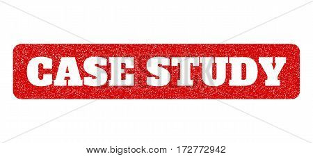 Red rubber seal stamp with Case Study text hole. Vector caption inside rounded rectangular banner. Grunge design and unclean texture for watermark labels. Scratched emblem.