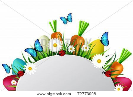 Happy Easter card with eggs camomiles butterflyes ladybugs carrots and grass with empty spase for your greetings