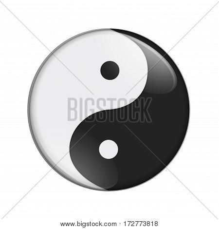 Black and white yin yang symbol isolated over white 3D Illustration