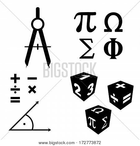 Math Icons Set In Black Color Illustration